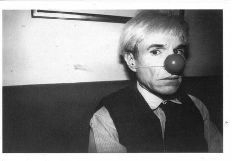 Andy Warhol with clown nose