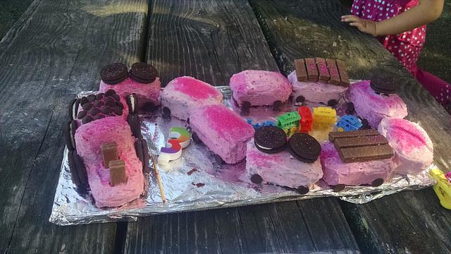 Pink Chocolate Choo Choo Train cake, as requested by the birthday girl.