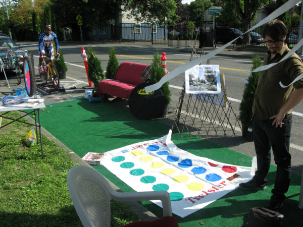 Twister game set up in Seattle Parklet on Parking Day 2016
